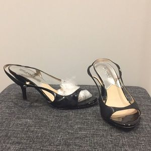 Patent leather sling back, open toe shoes